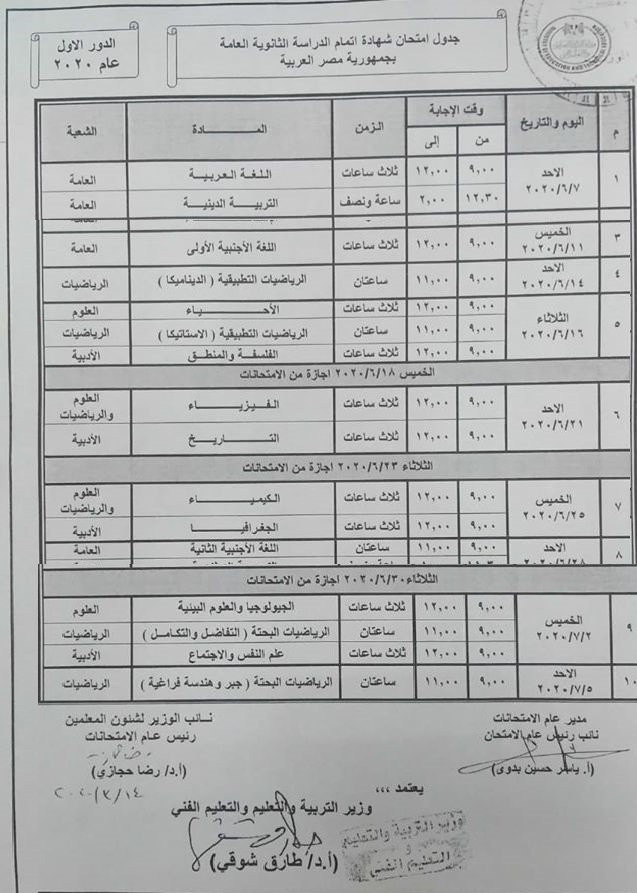 جدول امتحانات الثانوية العامة 2020 علمى وأدبى بعد التعديل وحذف 3 مواد لا تضاف للمجموع