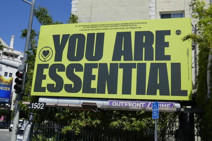 Lady Gaga you are essential coronavirus billboard