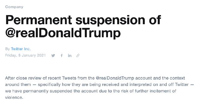 """Twitter suspende permanentemente la cuenta de Trump citando """"riesgo de una mayor incitación a la violencia"""". Twitter"""