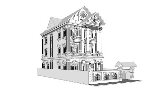 Chia sẽ model biệt thự mái ngói tân cổ điển thiết kế đồng bộ