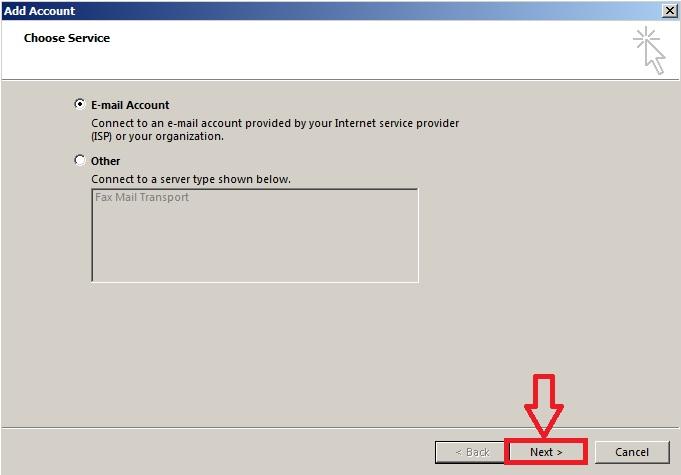 Click vào chọn Email Account như hình