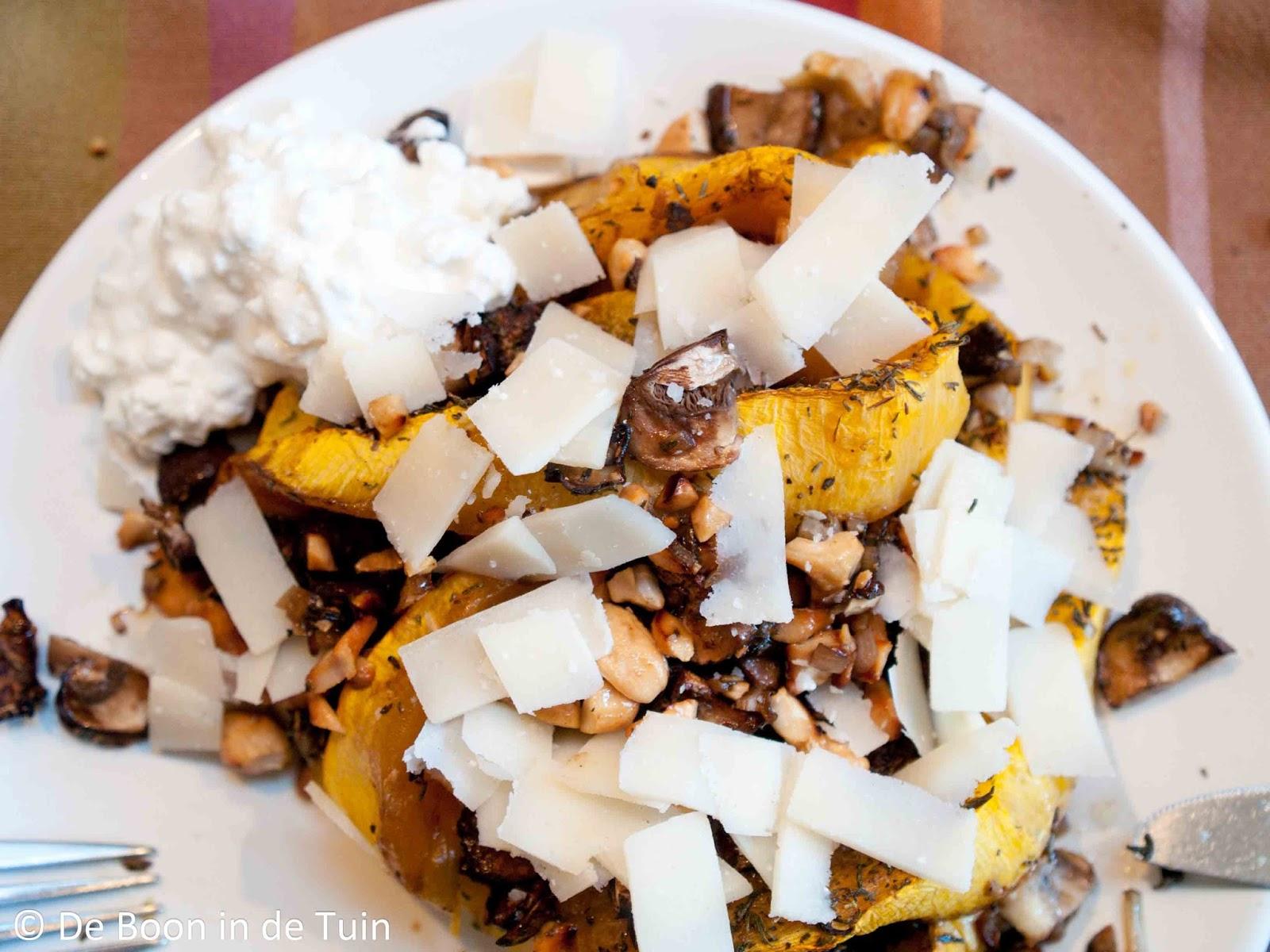 recept geroosterde pompoen vega noten roosteren
