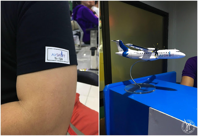AirSWIFT passenger sticker and model aircraft