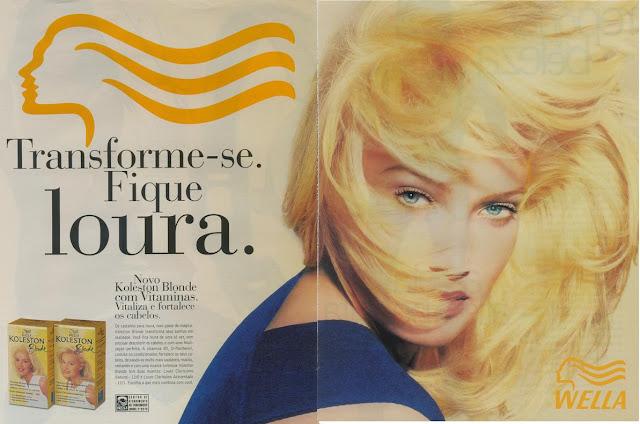 Propaganda das tinturas louras da Wella em sua linha Koleston apresentada em 1998.