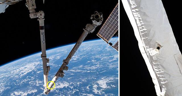 Buraco encontrado no braço robótico Canadarm2 da Estação Espacial Internacional