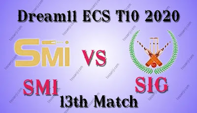 Who will win SMI vs SIG 13th T10 Match