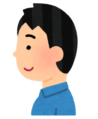 絶壁頭のイラスト(男性)