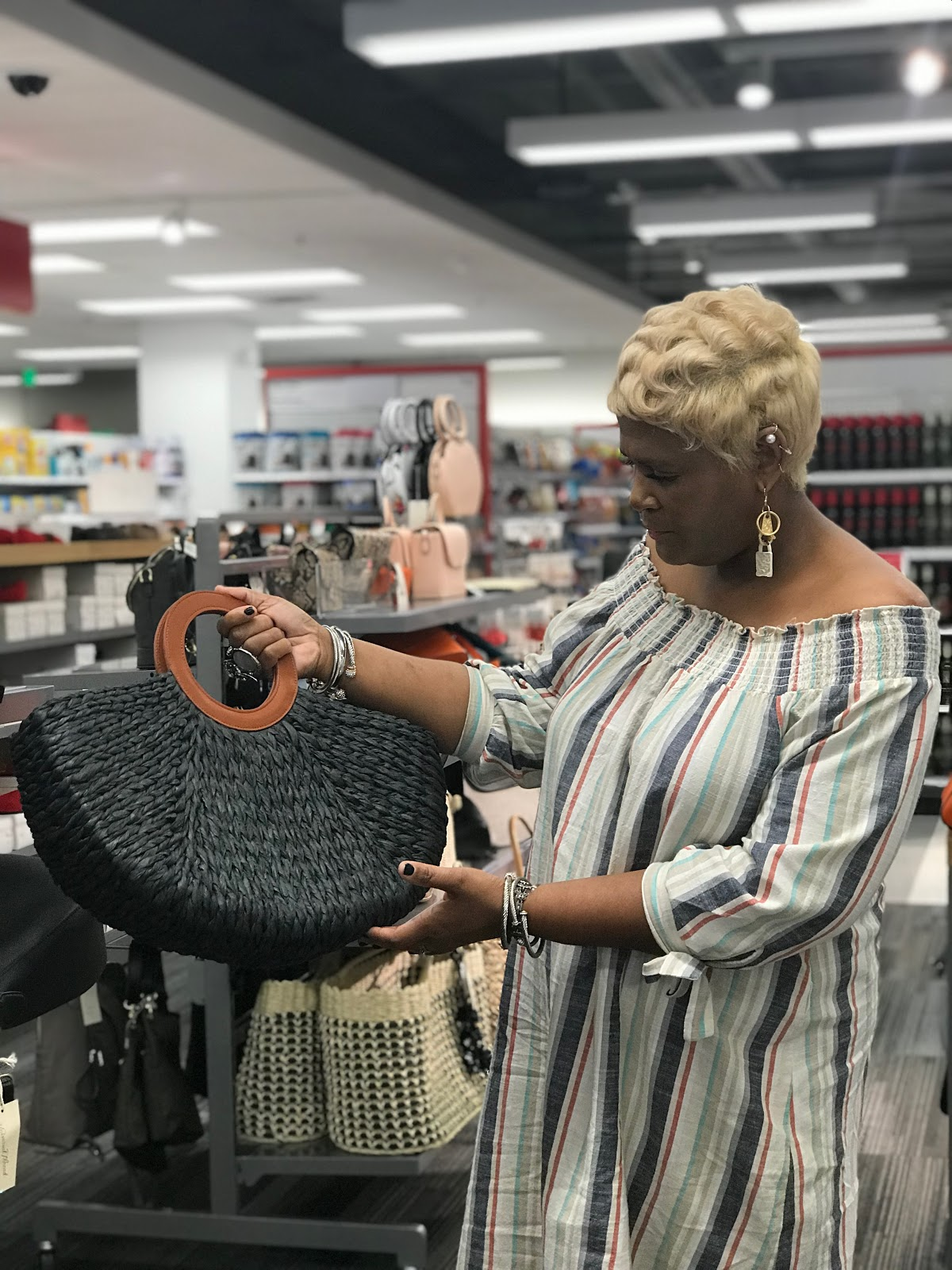 Image: Tangie Bell buying her first beach bag at Target. But, honey chile I hit the jackpot when I went shopping at a few of my favorite stores, Target and Marshall's.
