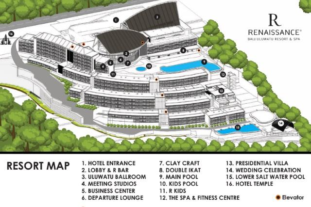 Resort Map of Renaissance Hotel Bali