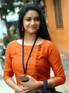 Keerthy Suresh in Orange Color Dress with Cute and Awesome Lovely Smile