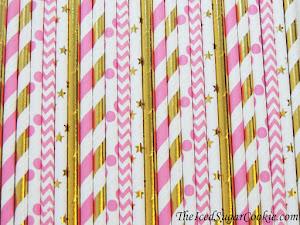 美人鱼粉红和金色吸管