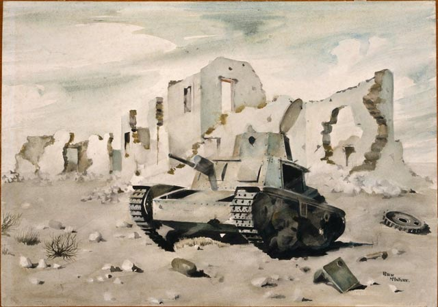"Artwork titled ""Wrecked Italian tank at Sidi Barrani 13 March 1942"" worldwartwo.filminspector.com"