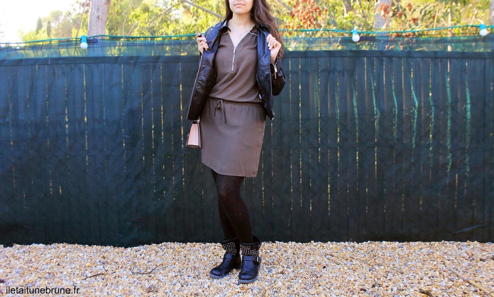 look kaki et noir pour l'automne