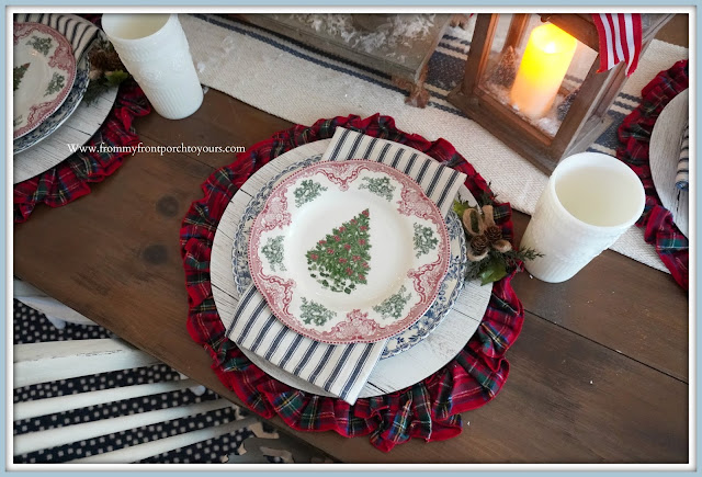 Cottage- Farmhouse- Christmas -Dining -Room- Tablescape-Transferware-Place-Setting--From My Front Porch To Yours