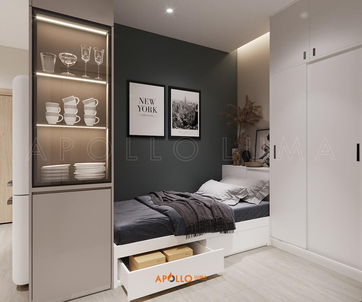 Thiết kế nội thất căn hộ 1PN+1 Vinhomes Grand Park Quận 9 phong cách hiện đại