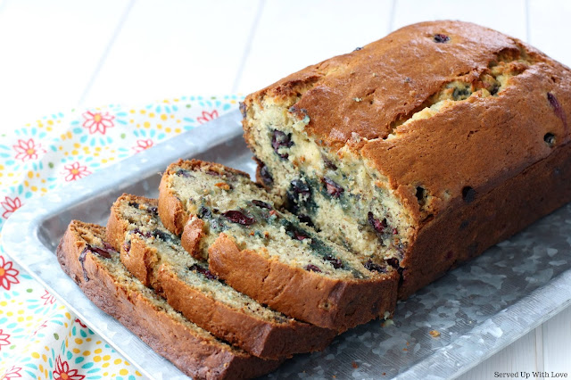 Sliced Blueberry Banana Bread recipe from Served Up With Love