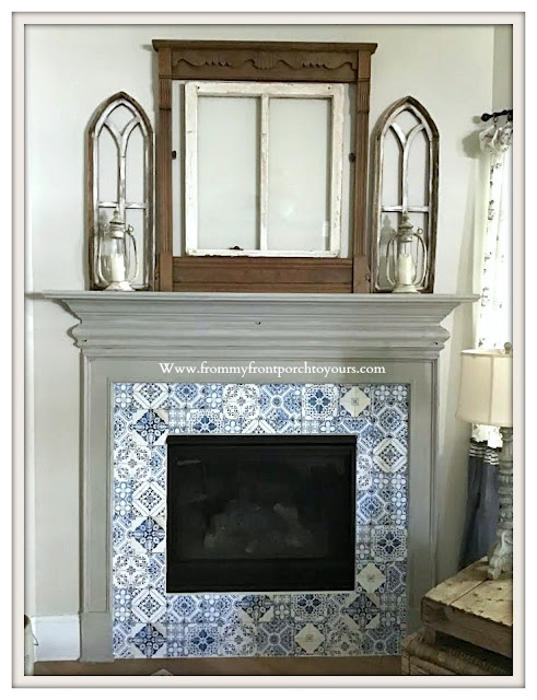 Peel & Stick -Faux-Blue-White-Tile- Wallpaper-Cottage-Fireplace-Farmhouse-From My Front Porch To Yours