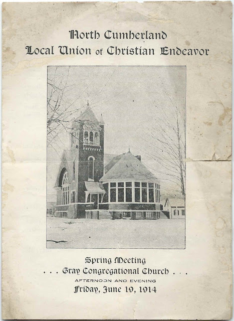 Program of Spring Meeting of North Cumberland Local Union of Christian Endeavor, held at Gray Congregational Church on Friday, June 19, 1914