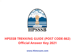 HpSSSB TREKKING GUIDE (POST CODE-862) Official Answer Key 2021