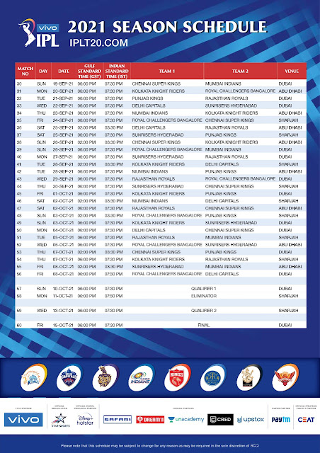 IPL 2021 Time Table Date Declared/Watch live
