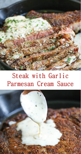 Steak with Garlic Parmesan Cream Sauce #Steak with #Garlic #Parmesan #Cream #Sauce #SteakwithGarlicParmesanCreamSauce