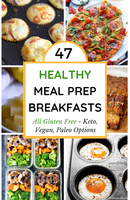 Need the best #healthy meal prep breakfasts? Check out this round up of 47 #glutenfree breakfasts. #Vegan, #lowcarb, #keto and #paleo options.