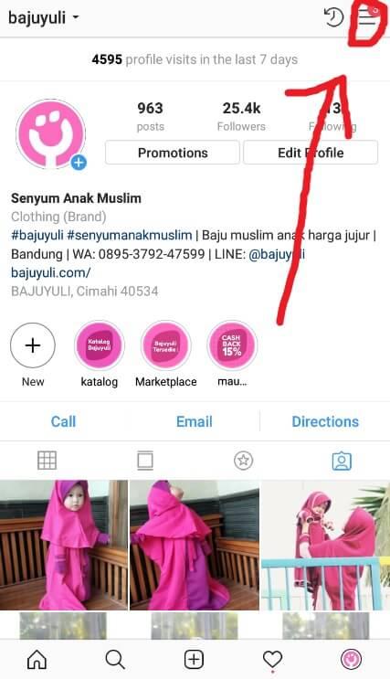 Buka Menu Lainnya Instagram