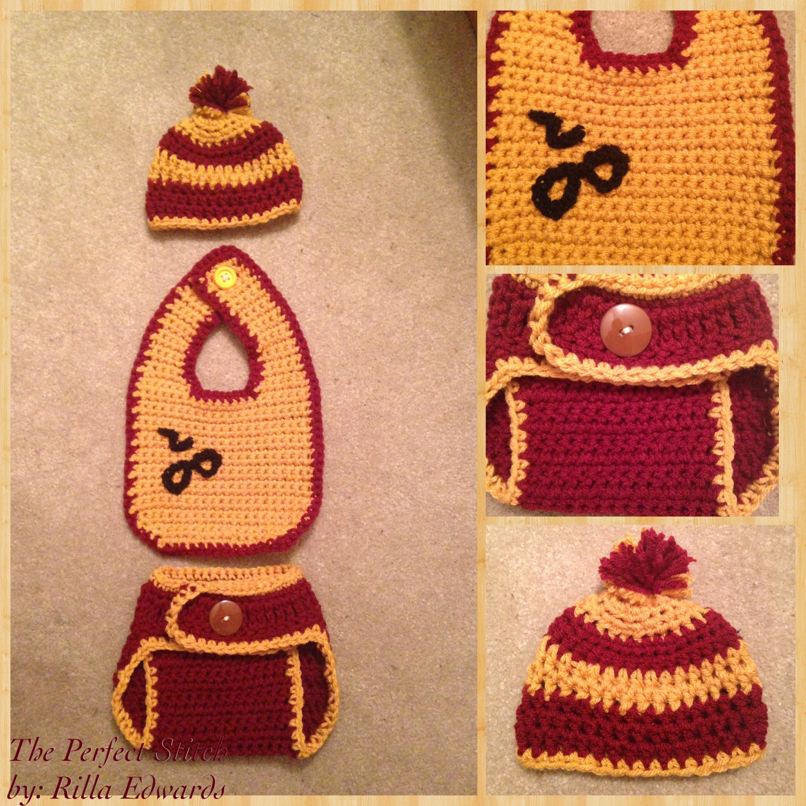 The Perfect Stitch...: Harry Potter Baby Set - Hat, Bib & Diaper Cover