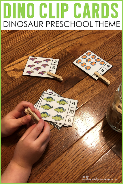 Counting Clip Cards Dinosaur Theme