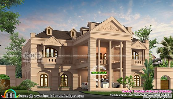 6 bedroom luxurious Colonial house plan