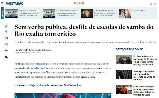 Estadão - Escolas de Samba sem Verba para 2020