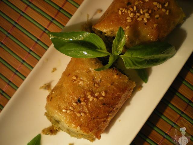 Baklava de pesto de albahaca y nueces