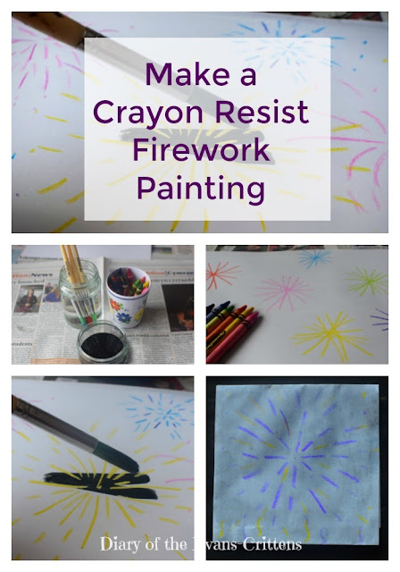 Bonfire night craft, crayon resist firework painting, firework, craft