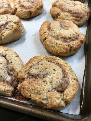 Buckwheat Cinnamon Roll Scones hot from the oven