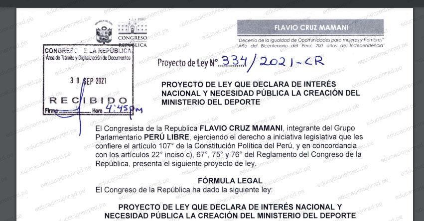 PROYECTO DE LEY N° 00334/2021-CR.- Ley que declara de interés nacional y necesidad pública la creación del Ministerio del Deporte (.PDF) www.congreso.gob.pe