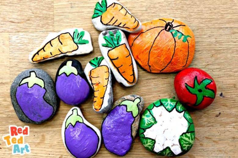 vegetable rock painting ideas for kids