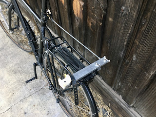 Detail view of bike towing system