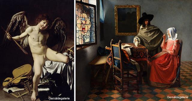 Cupido Vencedor, de Caravaggio, e O Copo de Vinho, de Vermeer, na Gemäldegalerie de Berlim