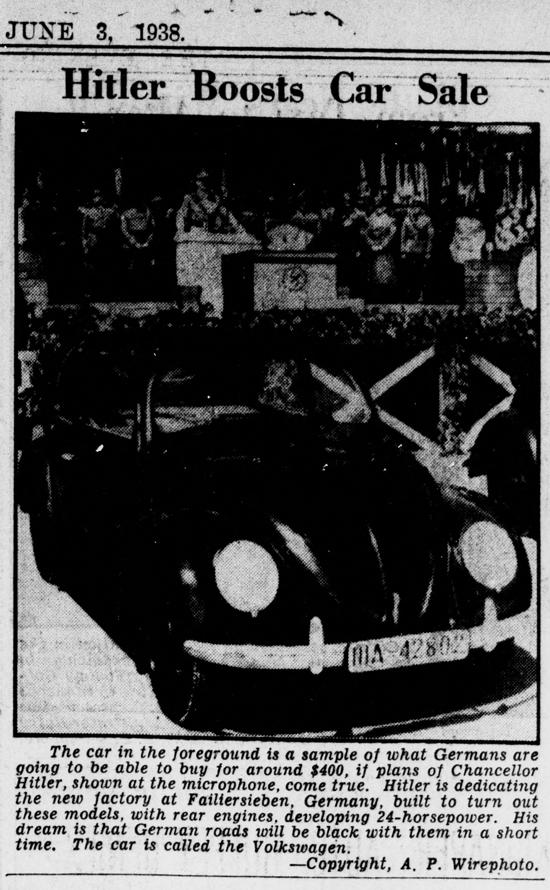 Volkswagen Type 1, newspaper report June 1938