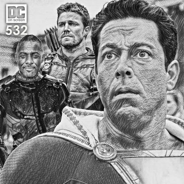 Shazam, Stephen Amell as Arrow, and Idris Elba as Deadshot