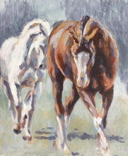 Follow My Lead, 100 Paintings in 100 Days, equestrian art, equine art uk