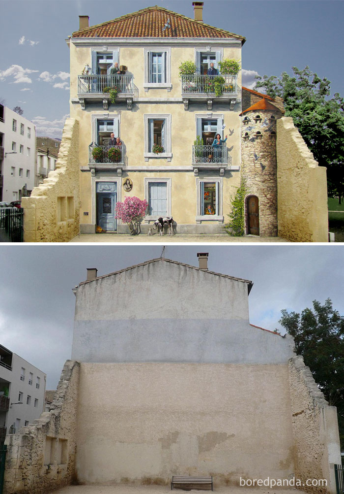 10+ Incredible Before & After Street Art Transformations That'll Make You Say Wow - Juliette Et Les Esprits, Montpellier , Franc