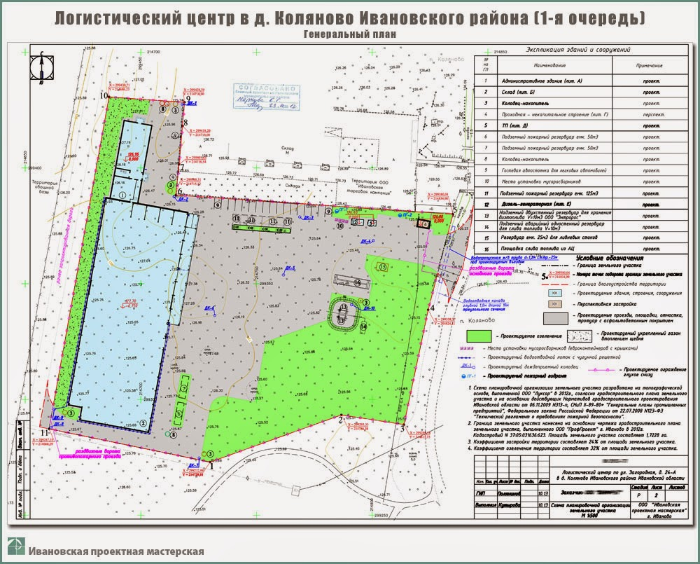 Проект логистического центра в пригороде г. Иваново - д. Коляново - Схема планировочной организации земельного участка
