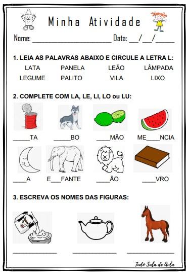 ATIVIDADE DE EDUCAÇÃO INFANTIL LETRA L