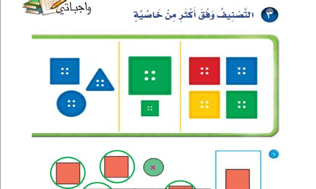 حل درس التصنيف وفق أكثر من خاصية الرياضيات للصف الأول ابتدائي