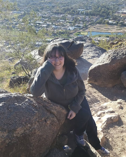 Tracie taking a break on Camelback Mountain Cholla Trail in Phoenix
