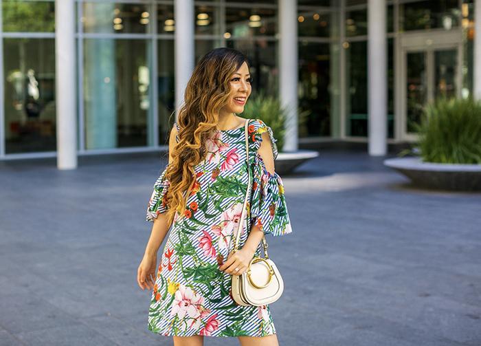 shein floral cut out dress, chloe nile bag, everlane modern oxfords, baublebar earrings, san francisco fashion blog, san francisco street style