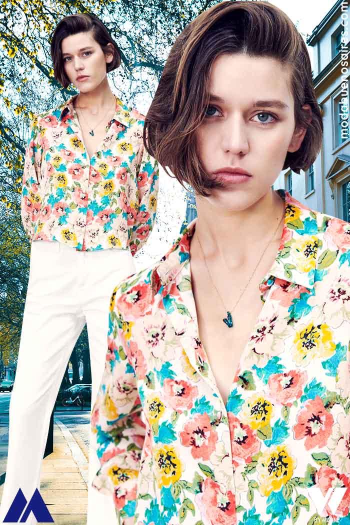 camisas con flores ultima moda Zara mujer verano 2022