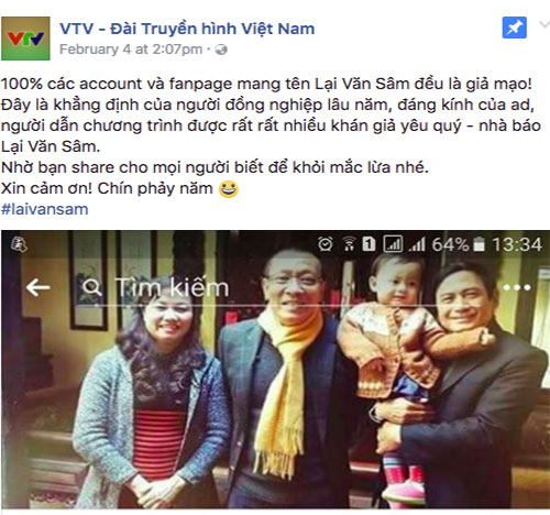 Thong bao chinh thuc ve tai khoan facebook cua Lai Van Sam