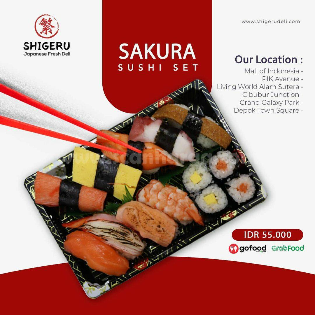 SHIGERU Promo SAKURA Sushi Set Kini Tersedia di GOFOOD & GRABFOOD